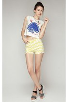 storets bracelet - light yellow storets shorts - blue ny crop top storets top