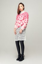 hot pink storets sweater - black storets boots - white storets dress