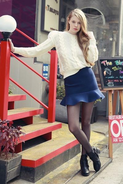 navy storets skirt - black storets boots - ivory storets sweater