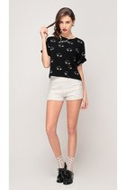 black storets top - black storets shoes - white storets shorts