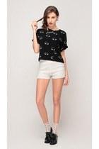 black storets top - black storets shoes - white storets shorts