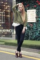 olive green storets shirt - black storets pants - crimson storets heels