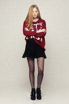 brick red storets sweater - storets boots - black storets skirt