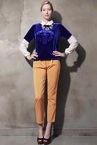 blue storets top - ivory chiffon blouse storets blouse - silver storets necklace