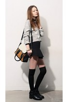 black storets top - black storets boots - heather gray storets sweater