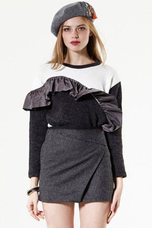 storets hat - ruffled storets sweater - faux wrap storets skirt