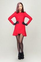 red storets dress - black storets boots - storets gloves