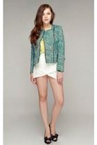 turquoise blue storets jacket - ivory storets shorts - lime green storets blouse