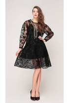 black storets blouse - black storets skirt - black storets heels