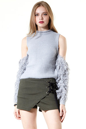 cold shoulder storets sweater - wrap effect storets shorts