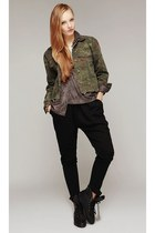 storets boots - army green storets jacket - puce storets blouse
