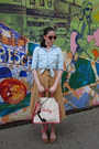 Light-blue-chambray-gap-shirt-coral-r-em-bag-ruby-red-urban-outfitters-sungl