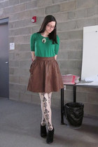 green Anthropologie sweater - off white Anthropologie tights - brown Anthropolog