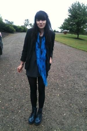 black vintage blazer blazer - alexander mcqueen scarf scarf - navy blue dr marte