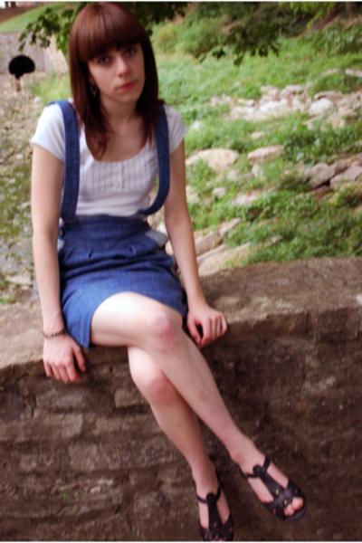 black sandals BC shoes - white cap sleeve Gap shirt - sass & bide skirt