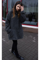 black Dr Martens shoes - dark gray Wallis coat - black Zara jeans