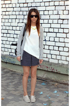 Keds sneakers - papaya shorts - fishbone cardigan - next blouse