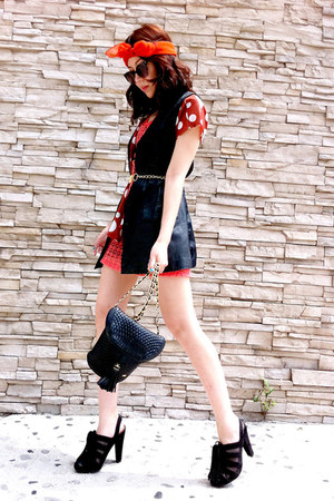 crochet no brand dress - quilted tassel Bally bag - tassel MNG heels - polka dot