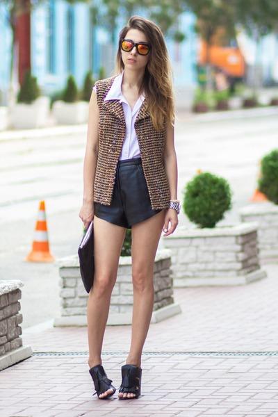 brown DIY vest - white BHS shirt - black DIY bag - black Zara wedges