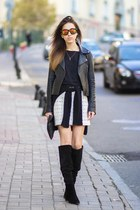 black Zara boots - black mars at venus jacket - black Zara sweater