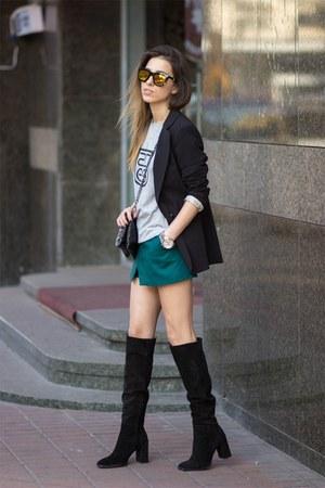 Zdes Brand t-shirt - Zara boots - pull&bear blazer - Zara bag - Bershka shorts