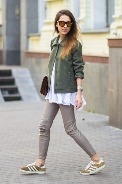 dark brown Zara bag - bronze Adidas sneakers - heather gray Zara pants