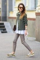 dark brown Zara bag - bronze Adidas sneakers - heather gray Zara pants