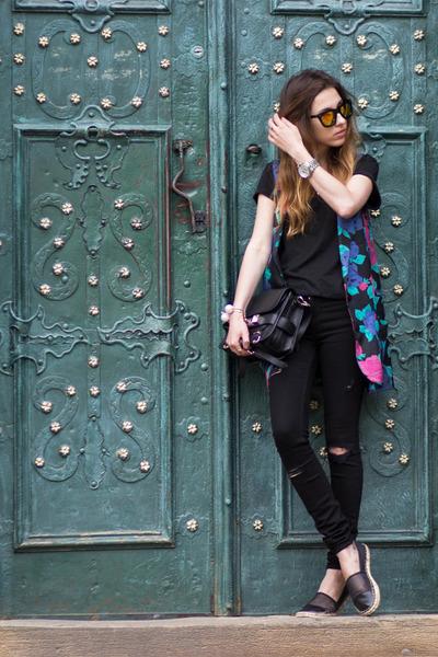 black sam edelman shoes - black Zara jeans - black PROENZA SCHOULER bag