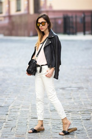 black Birkenstock shoes - white Zara jeans - black PROENZA SCHOULER bag