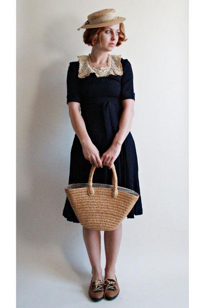 vintage dress - 1950s straw hat vintage hat - vintage bag - vintage flats b2afe0d8ec1