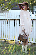 light pink tunic dress H&M dress - eggshell thrifted vintage boots