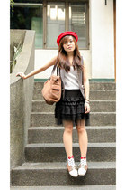 light brown AsianVogue shoes - red sm accessories hat - white Dickies socks