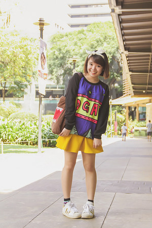 purple Little Turp sweater - brown Domo-kun bag - black fila socks