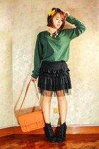 black Jeffrey Campbell boots - orange Glam-Rock Manila bag