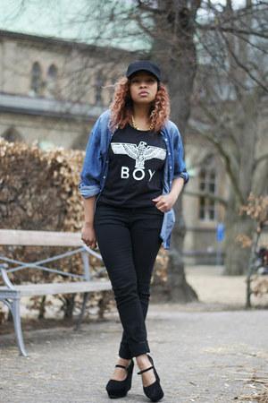 black GINA TRICOT jeans - navy H&M shirt - black Boy London t-shirt
