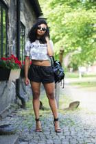 black BikBok sunglasses - aquamarine H&M shirt - black Nelly heels