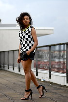 white checkered PERSUNMALL blouse - black lether H&M shorts