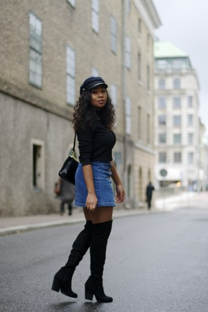 black H&M boots - black Monki sweater - navy H&M skirt