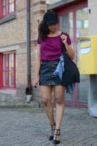 black H&M skirt - crimson GINA TRICOT t-shirt - black nellyse heels
