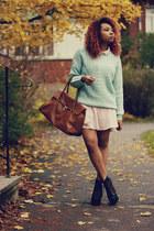 aquamarine Primark sweater - black Jeffrey Campbell shoes - light pink H&M dress