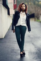 white Forever 21 blouse - black leather jacket Sheinside jacket