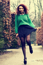 black polka dots H&M skirt - green knitted carlings jumper - black Nelly wedges