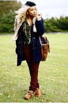 tawny H&M shoes - navy H&M coat - crimson lindex jeans - black H&M hat