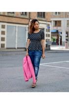 black peplum GINA TRICOT top - magenta H&M jacket