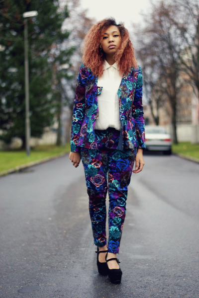 deep purple floral print nellyse jacket - deep purple floral print nellyse pants