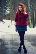 crimson GINA TRICOT sweater - navy GINA TRICOT skirt - black Nellycom wedges