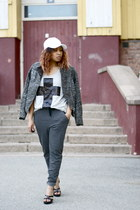 gray H&M jacket - white Cubus hat - silver GinaTricot shirt