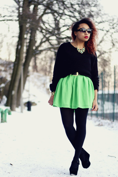 green Nellycom dress - black H&amp;M sweater - black Nellycom wedges