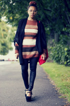 kimono Monki cardigan - Ruth mfl sweater - GINA TRICOT leggings - Nelly wedges
