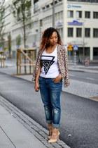 tan H&M jacket - white PERSUNMALL shirt - navy boyfriend jeans GINA TRICOT pants